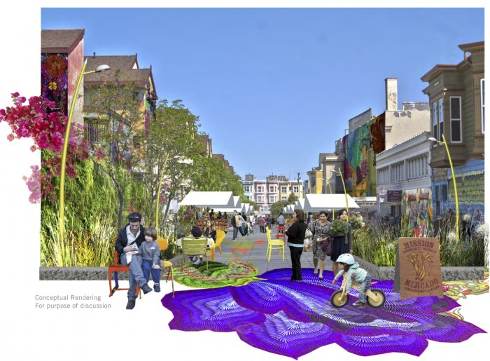Rendering of Bartlett Street as Mercado Plaza Concept