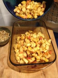 Pour Apple Mixture into Baking Dish