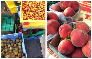 Left: Arata's peaches, cherries (done for the season), and pluots. Right: Along with their yellow regina peaches, Arata has a grove of white peach trees.