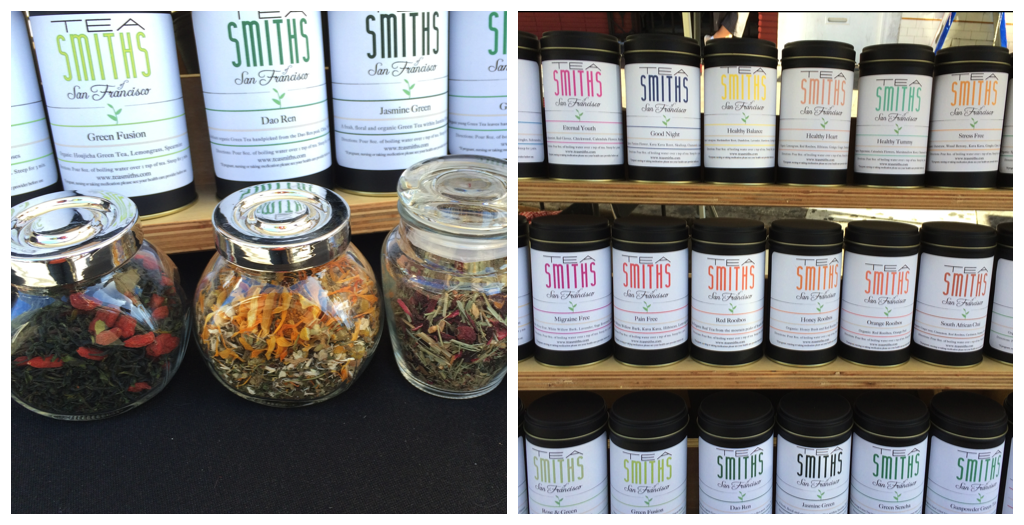 The Tea Smiths have a large stock of green, black, yerba mate, and herbal teas. All ingredients are organic.